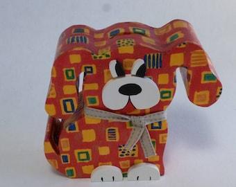 Wooden dog money box: red dog piggy bank