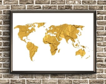 Gold Foil World Map | Gold Foil Wall Art | Gold Foil Print Map | World Map Wall Art | Gold Foil Map | World Map Poster | World Map Printable