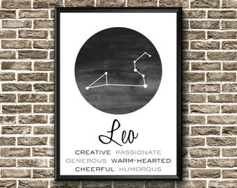 Leo Constellation Print   Leo Wall Art   Leo Print   Leo Gift   Leo Star Sign   Leo Watercolor   Leo Poster   Leo Decor   Leo Printable