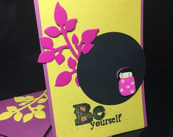 "card ""be yourself"" kokeshi doll"