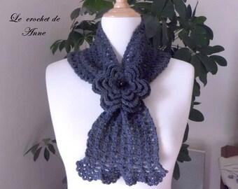 Dark grey scarf slide, adorned with a flower brooch!
