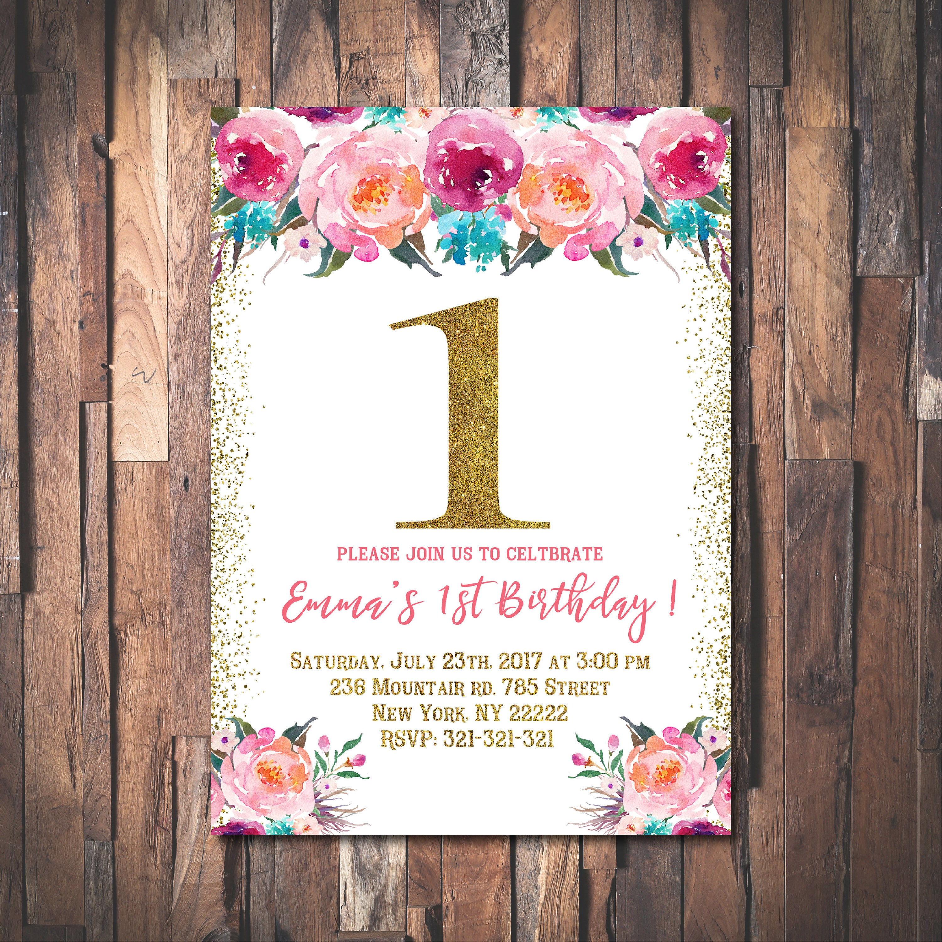 Floral 1st Birthday Invitations for Girls, Garden Party, Floral Kids ...