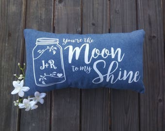 "Personalized ""You're the Moon to my Shine"" Pillow 