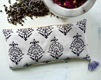 Lavender Eye Pillow Indian Cotton Block Print Filled with Organic Dried Lavender and Buckwheat Hulls Savasana Yoga Eye Pillow Spa Pillow