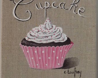 "Painting ""pink Cupcake"", painting on natural linen"