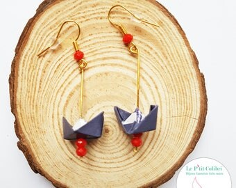 """Origami earrings """"MOM p' little boats"""" Navy Blue and Red"""
