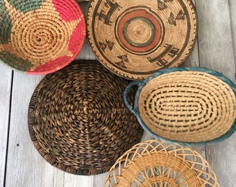 Vintage Lot of 6 Multi-Colored Boho Baskets