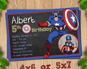 Captain America Birthday, Captain America Invitation, Captain America Party, Avengers Invite, Party Invites,