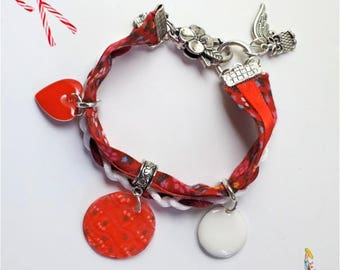 """MULTISTRAND Ribbon """"Candy cane"""" heart charms bracelet red and white contrast"""
