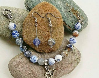 Stunning Fire Polished Faceted Agate bracelet and matching earrings