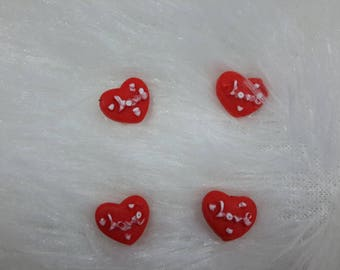 Set of 4 stickers resin hearts