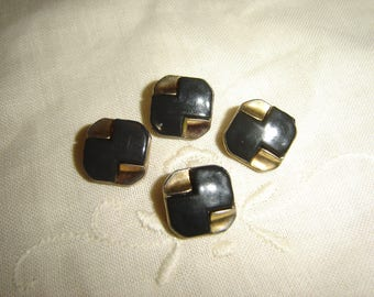4 buttons square black & gold / / 13 mm