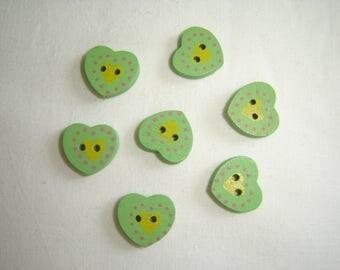 FANCY heart shaped wood buttons 7 / / 16 x 16 MM / / set of 8