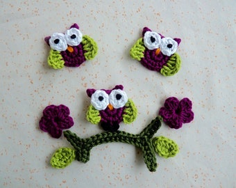 3 small plum owls, 1 sitting on a flowering branch - appliques for Hat and booties crochet baby