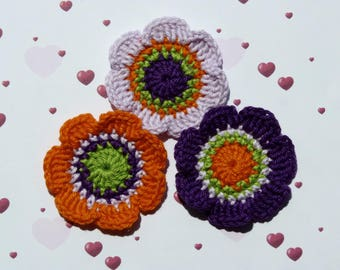 Set of 3 large flowers of 5.5 cm crochet cotton purple, orange, purple and green