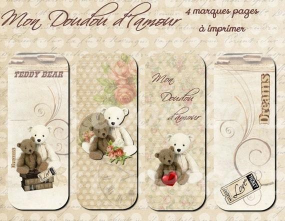 4 marques pages imprimer doudou d 39 amour - Marque de cuisine francaise ...