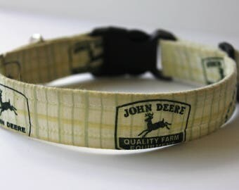 John Deere Hand-made Pet/Dog Collar-with optional Personalized Embroidery