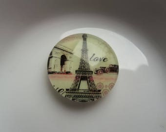 set of 2 cabochon glass 20mm eiffel tower