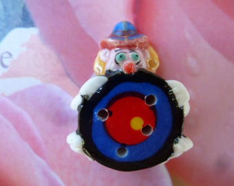 porcelain button target clown series circus bean for creation or collection