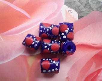 6 African recycled glass shaped tubes 13 mm blue round patterns red and white polka dots
