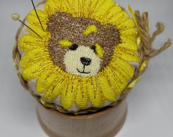 Embellished Pin Cushion in solid wood Pot Ideal Xmas Gift