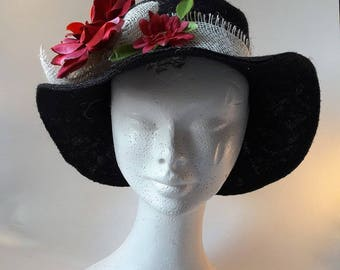 Hat Black oval white flower headband Red