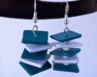 Turquoise and white square earrings