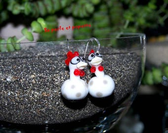 earring glass, silver white chicks 925 Lampwork