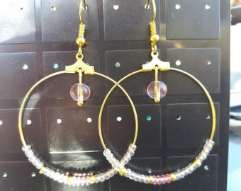 Steel hoop earrings, seed beads and synthetic clear
