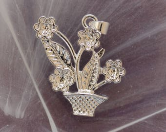 ❥ basket and flowers in 925 sterling - silver pendant