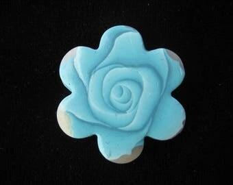 Fancy blue shades polymer clay flower ring