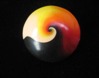 Cabochon ring spiral black/orange polymer clay (fimo) mounted on an easily adjustable support without nickel - diameter 30 mm