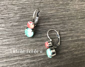 Stud Earrings Swarovski Mint green and coral