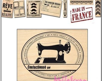 "Stamp wood ""Unique"" ""Design""made in France""Miscellany scrapbooking card making *"""