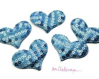 Set of 5 hearts blue fabric sequins embellishment scrapbooking card (ref.310). *.