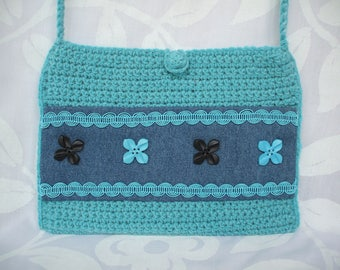 Blue Lagoon crocheted pouch
