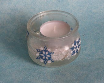 Candle in glass and resin star snow