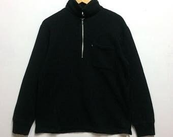Casual Black AGNES B single pocket half zipper sweatshirt nice design!!