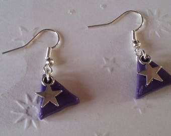 "Earrings are made of ""VIOLETS"" polymer clay"