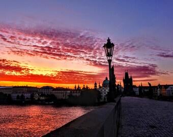 Charles Bridge Sunrise, Prague, Czech Republic, Canvas Print