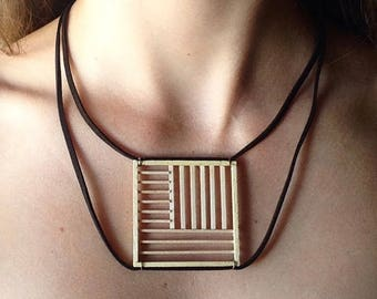 Necklace modern wood