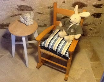 ROCKING CHAIR WOODEN SOLID STRAW FOR CHILD WITH STAR CUSHION