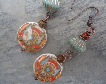 """Poetic earrings ethnic """"Oriental 2"""" - porcelain beads, Czech glass beads"""