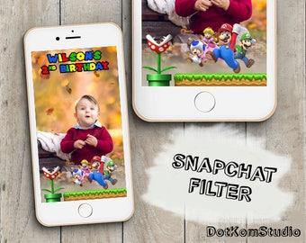 Super Mario Bros Snapchat Geofilter, Super Mario Birthday Snapchat Geofilter, Super Mario Birthday, Super Mario Bros Geofilter, Mario Filter