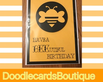 Cute Bee birthday card - card for any relative