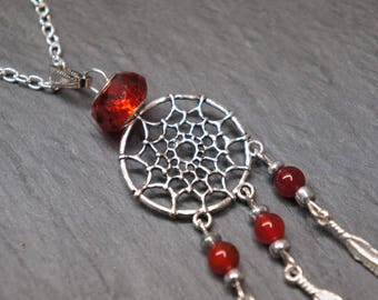 Necklace red Dreamcatcher - Flame