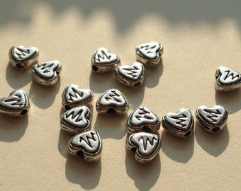 LOT 14 beads METAL silver PLATE 8 mm /C2 heart