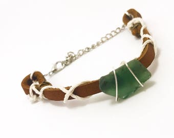 Green Sea Glass Adjustable Bracelet