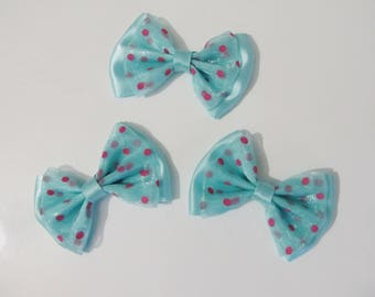 Set of 3 bows double Mint and Fuchsia water 50 x 35 mm