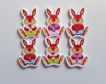 Set of 5 wooden rabbit buttons